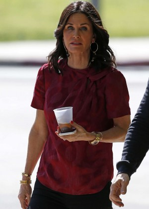 Courteney Cox on 'How to get away with murder' set in Woodland Hills