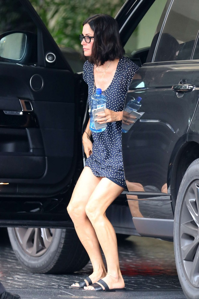 Courteney Cox in Mini Dress Out in Beverly Hills