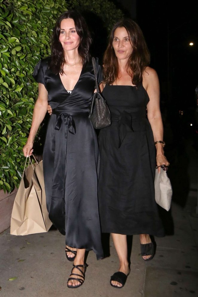 Courteney Cox with a girlfriend at Giorgio Baldi restaurant in Pacific Palisades