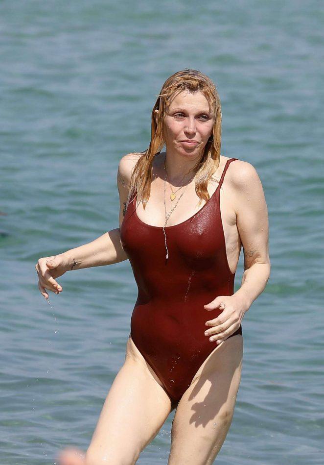 Courtney Love in Red Swimsuit in Saint Tropez