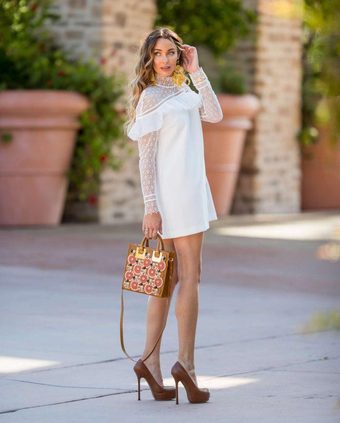 Courtney Sixx in Mini Dress Shopping in Malibu
