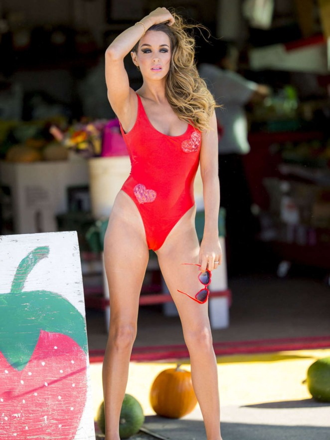 Courtney Sixx in Red Swimsuit -12