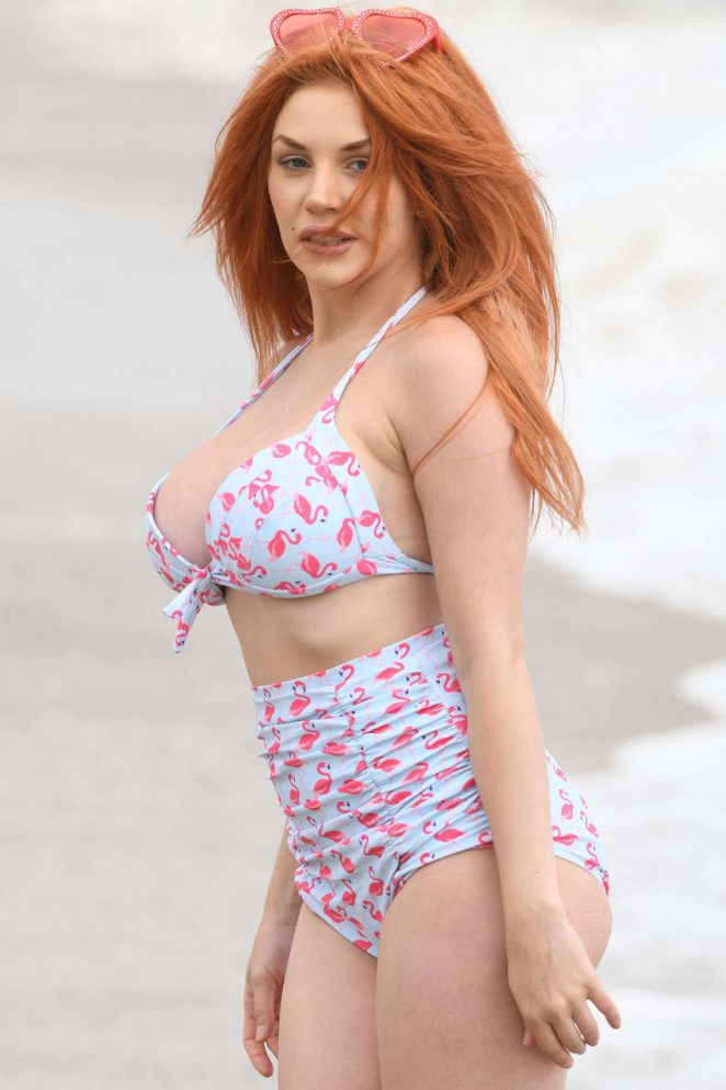 Courtney Stodden in Pink Flamingo Bikini on the beach in Malibu