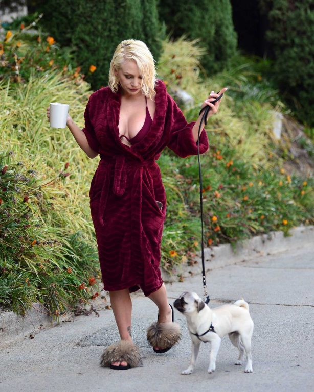 Courtney Stodden walking her pug puppy in Los Angeles
