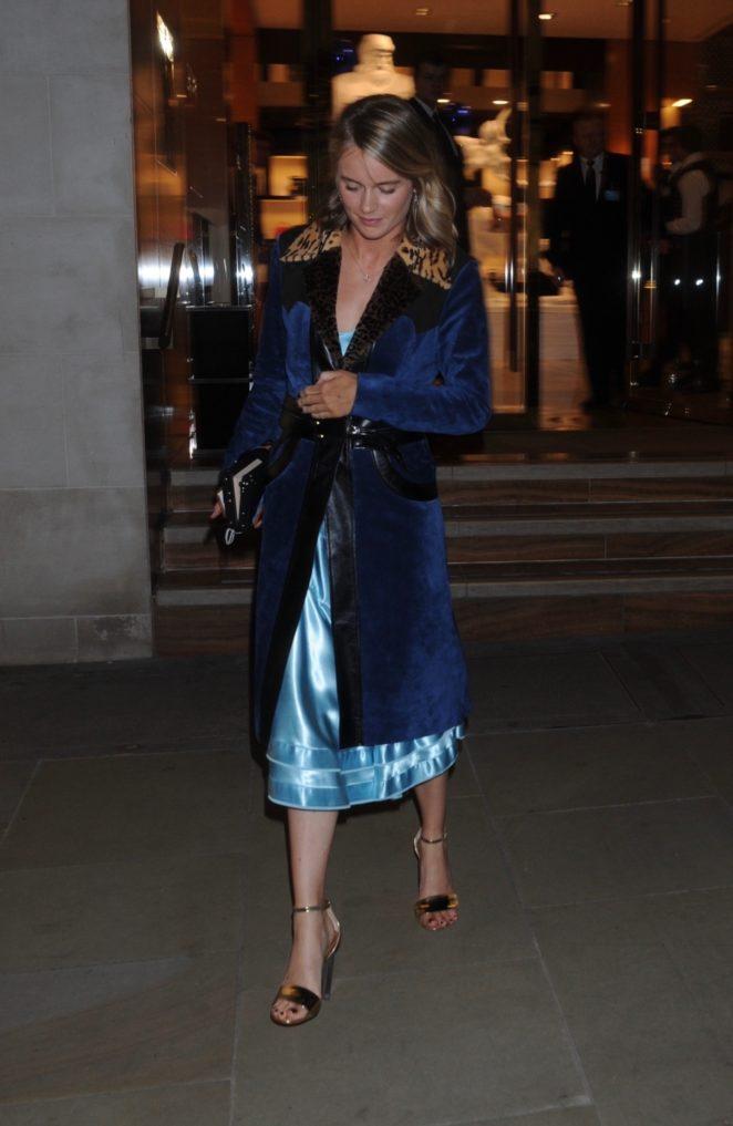 Cressida Bonas in Blue Coat out in London