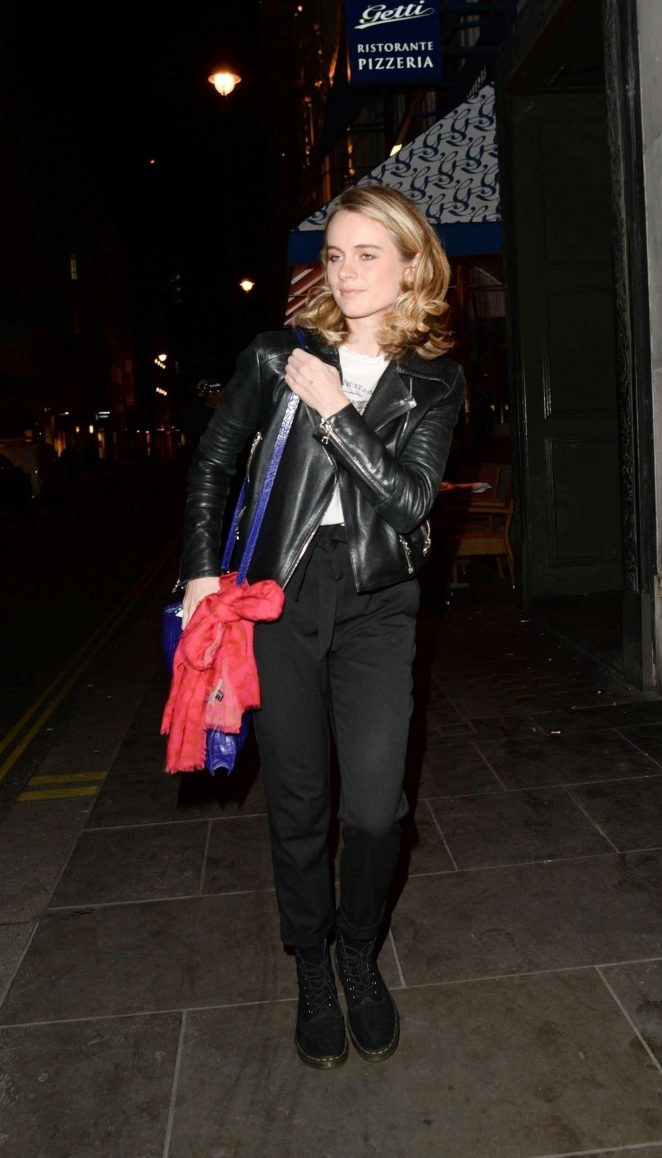 Cressida Bonas in Leather Jacket - Leaves Jermyn Street Theatre in London