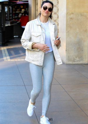 Crystal Reed in grey yoga pants on shopping trip in Beverly Hills