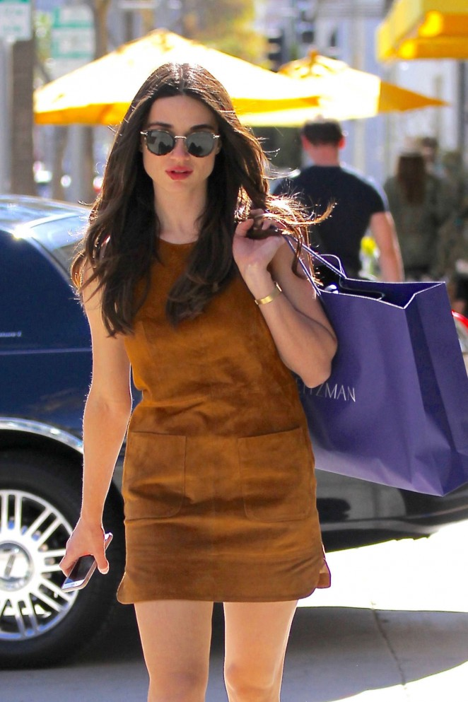 Crystal Reed in in Mini Dress Shopping in Beverly Hills