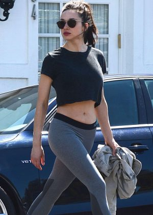 Crystal Reed in Tights Leaves a gym in Los Angeles