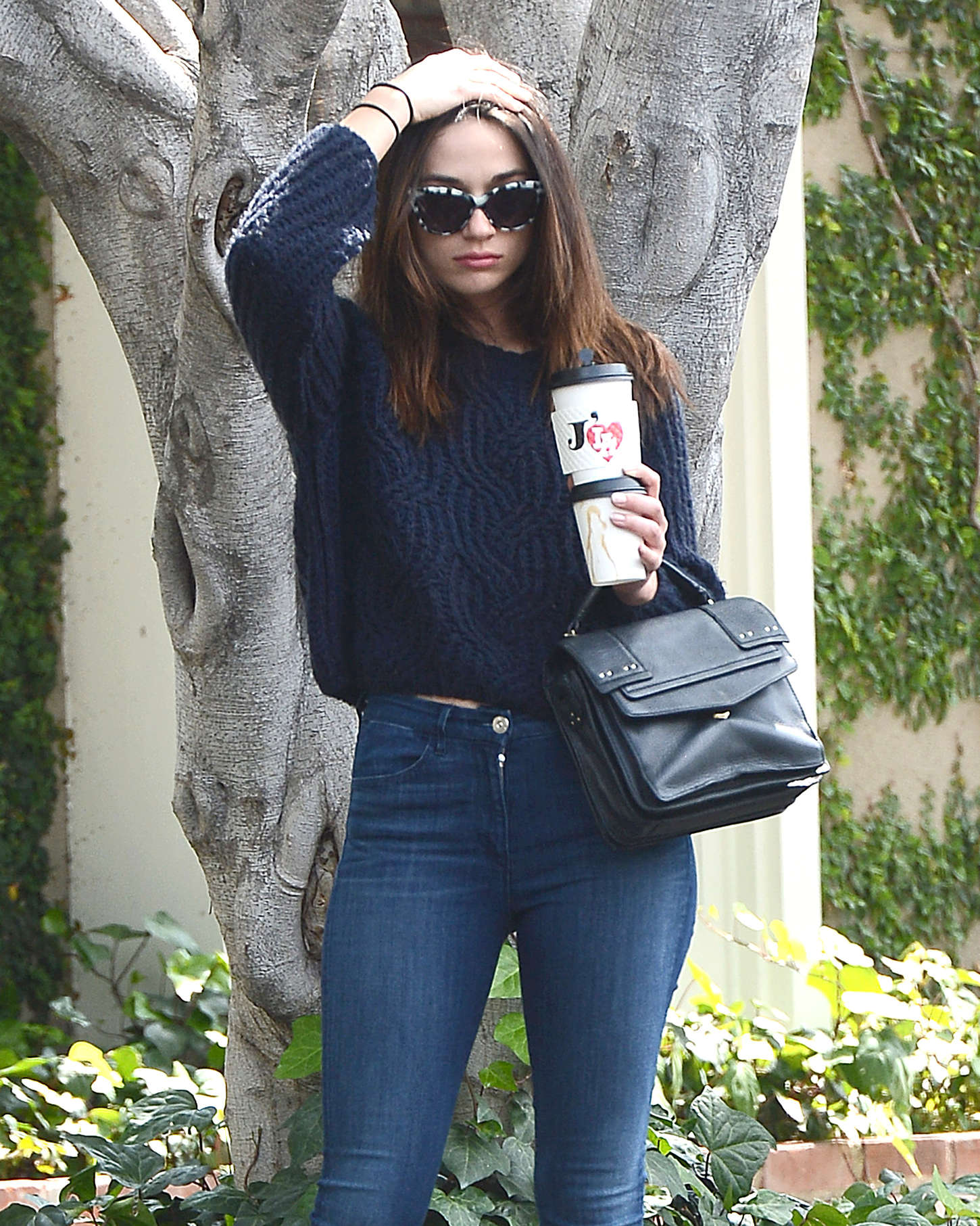 Crystal Reed in Jeans Leaving Cafe Alfred in LA