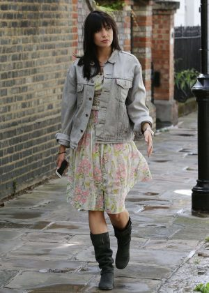 Daisy Lowe in a denim jacket out in London