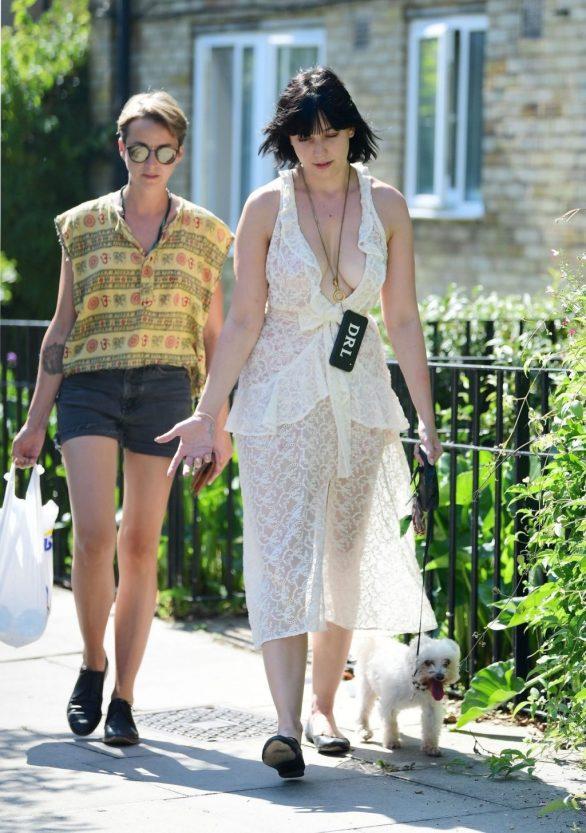 Daisy Lowe in a summery dress out in London