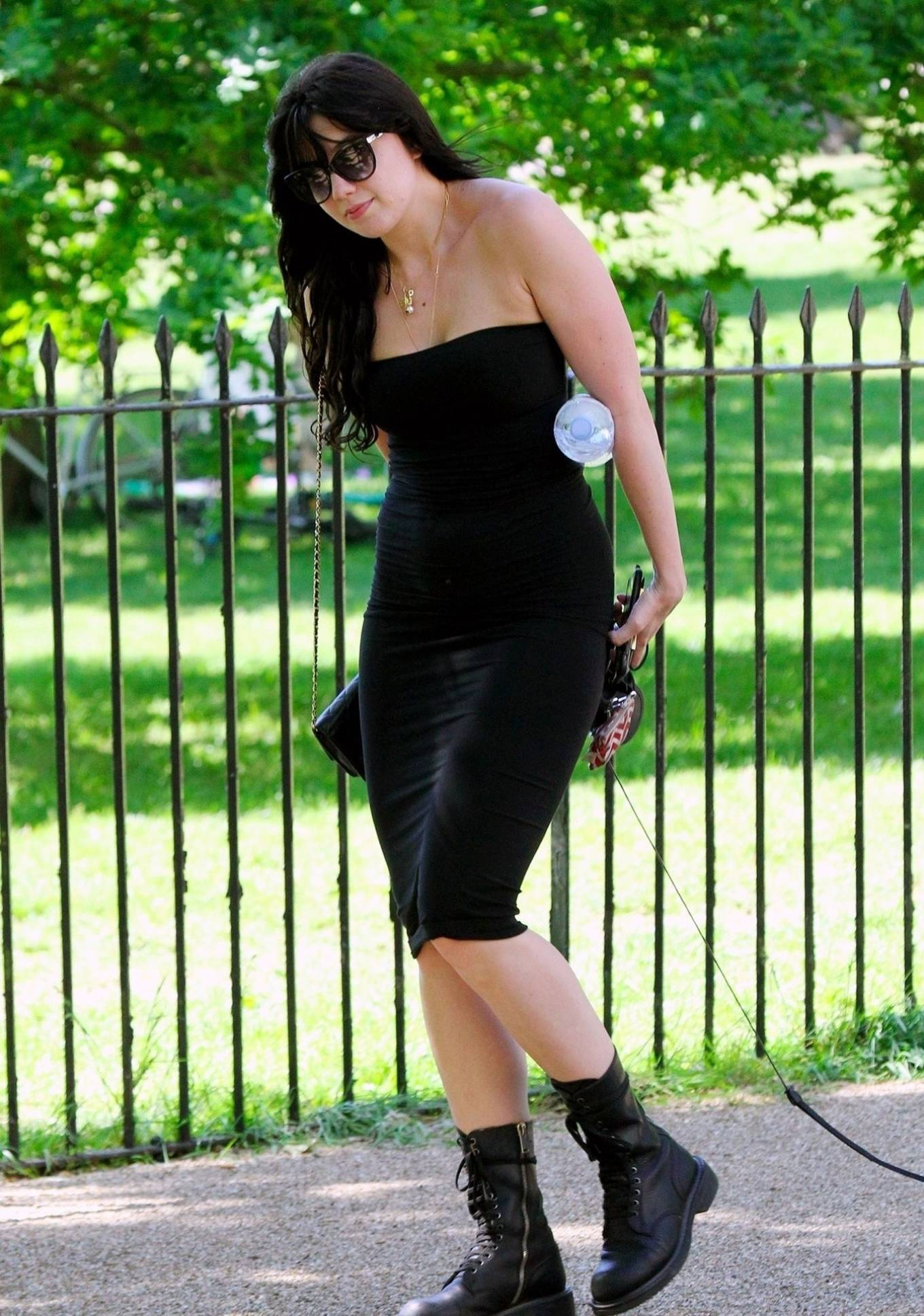 Daisy Lowe in Black Dress - On a stroll in London