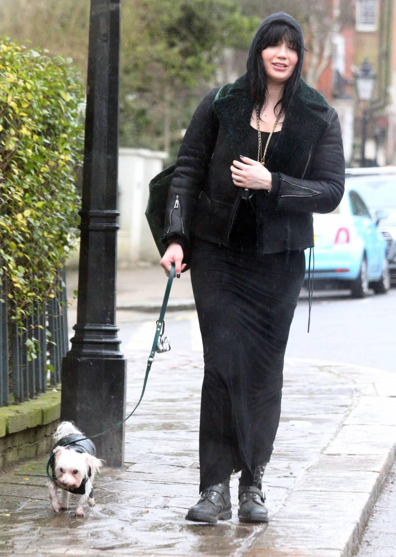 Daisy Lowe - In leather jacket in London