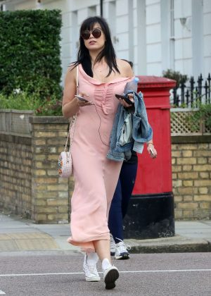 Daisy Lowe in Long Dress Out in Primrose Hill