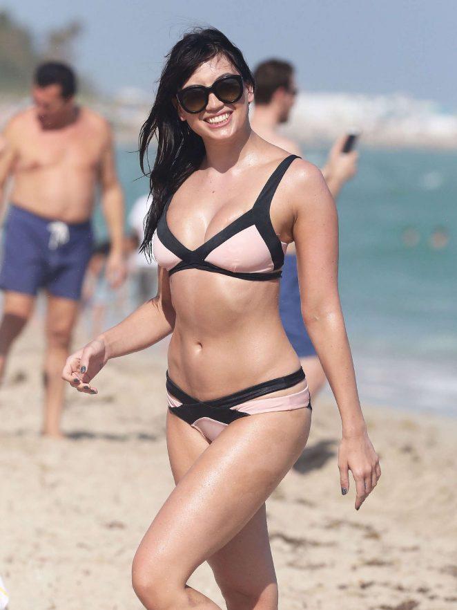 Daisy Lowe in Pale Pink Bikini on Miami Beach