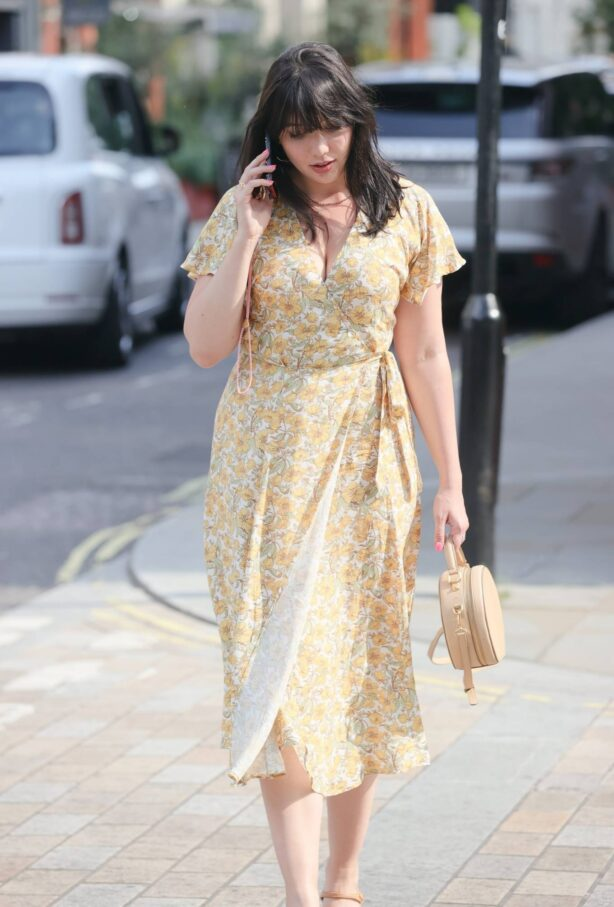 Daisy Lowe - in plunging floral dress out to Lunch at Roka restaurant in Mayfair