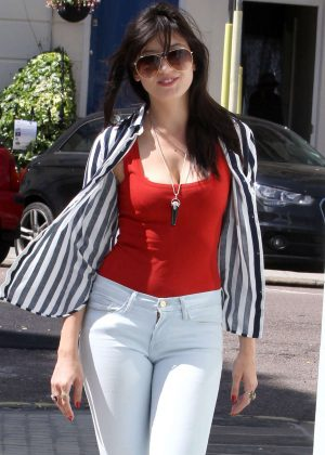 Daisy Lowe in White Jeans out in London