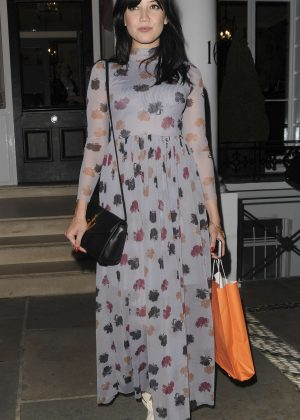 Daisy Lowe - Leaving Tanya Burrs Birthday Party in London