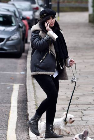 Daisy Lowe - Out for a walk with her dog Monty in Primrose Hill