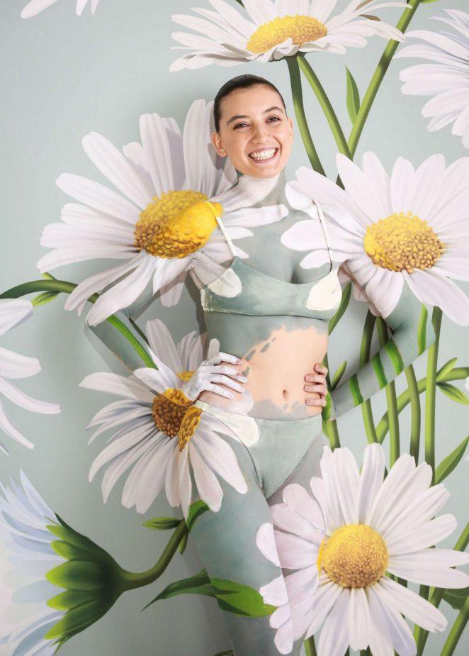 Daisy Lowe - Painted by World-Leading Body Paint artist Carolyn Roper