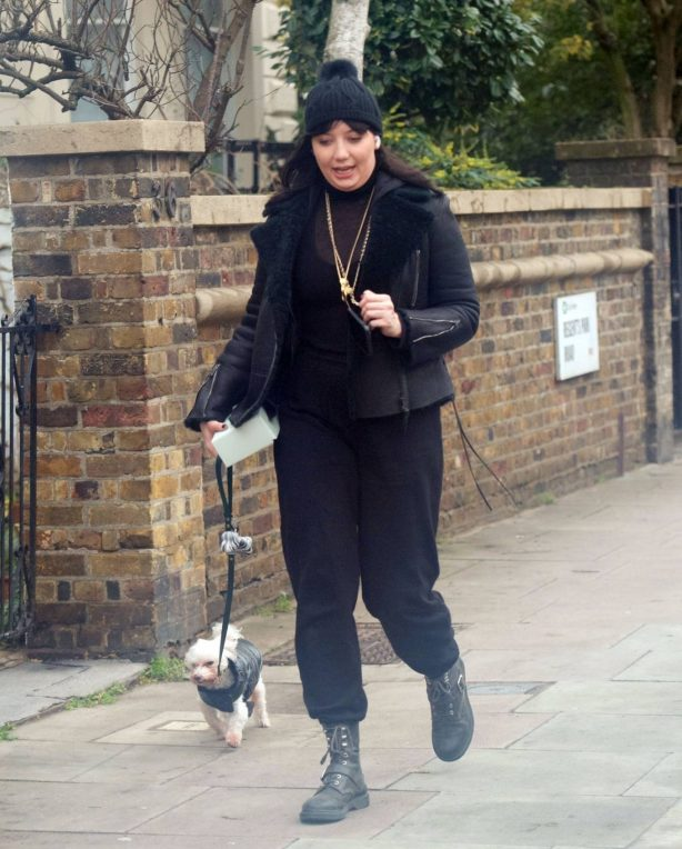Daisy Lowe - Took her cute pet dog for a walk in North London