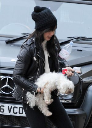 Daisy Lowe - Walks Her Dog at Regents Park in London