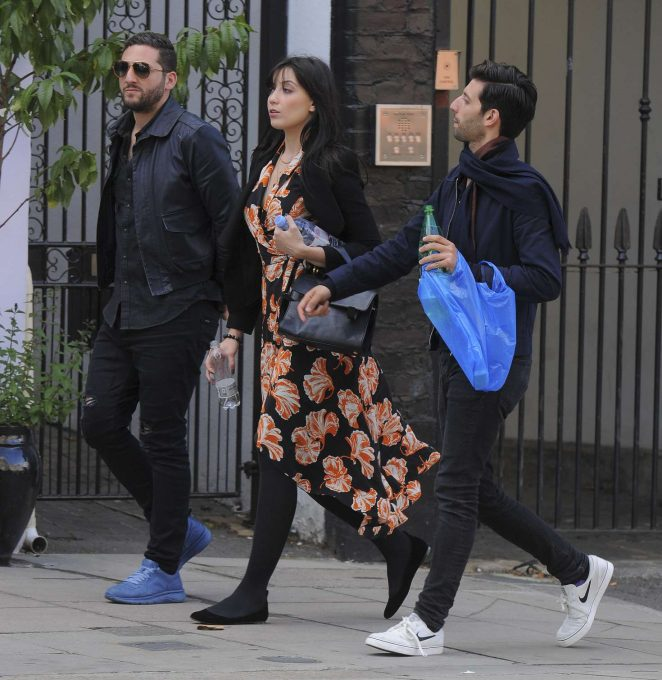Daisy Lowe with friends out in Primrose Hill