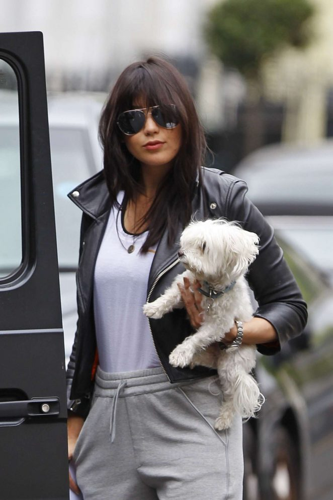 Daisy Lowe with her dog in London