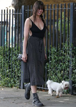 Daisy Lowe With her dog - Out in North London