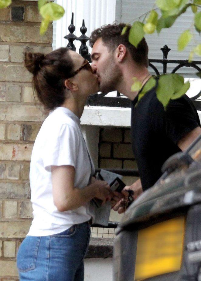Daisy Ridley kiss with her boyfriend Tom Bateman in London