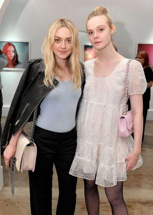 Dakota and Elle Fanning - Anton Yelchin Photography Exhibit in LA