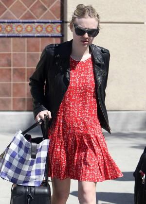 Dakota Fanning in Red Mini Dress at Burbank Airport in LA