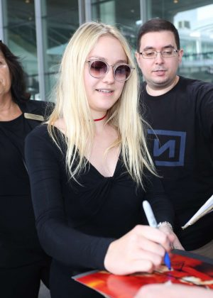 Dakota Fanning at Toronto International Airport in Canada