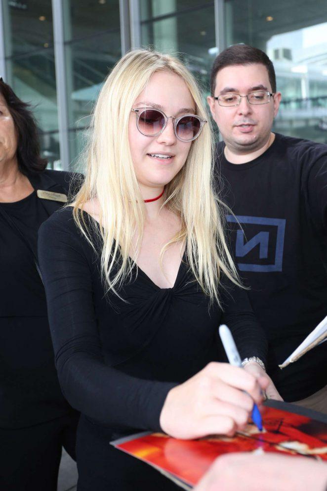 Dakota Fanning at Toronto International Airport in Canada