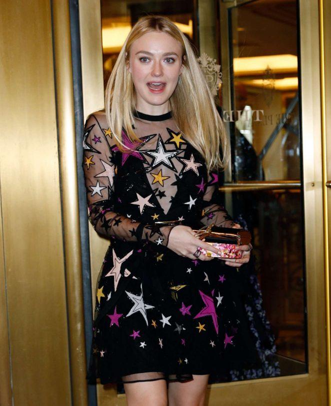 Dakota Fanning in a multicolored dress in New York