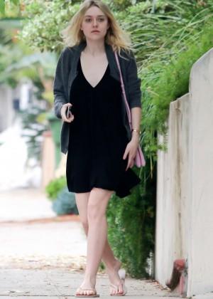 Dakota Fanning in Black Mini Dress Out in Studio City