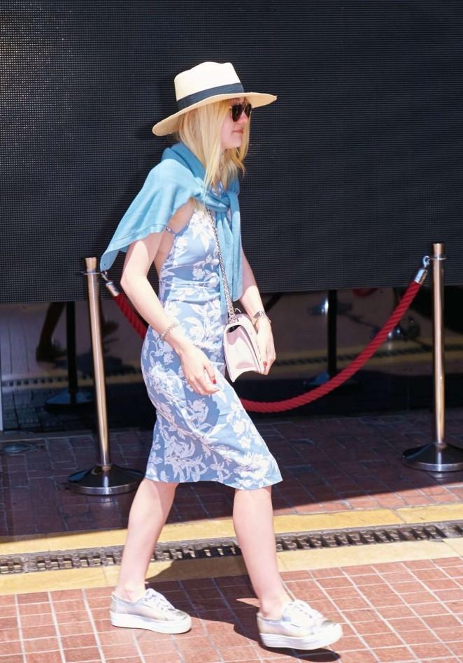 Dakota Fanning in Blue Dress Out in Cannes