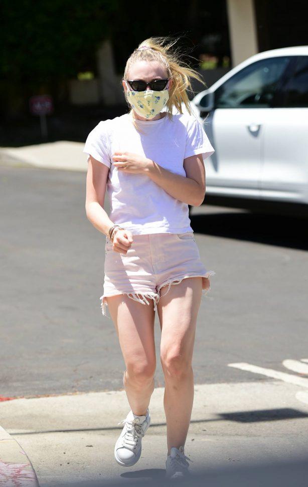 Dakota Fanning in Denim Shorts - Out in Los Angeles