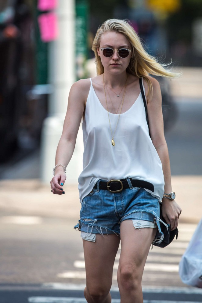 Dakota Fanning in Denim Shorts Out in Soho