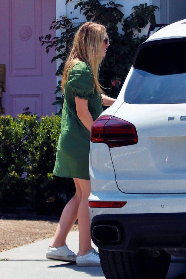Dakota Fanning in Green Mini Dress - Out in LA