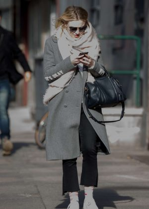 Dakota Fanning in Grey Coat out in New York City