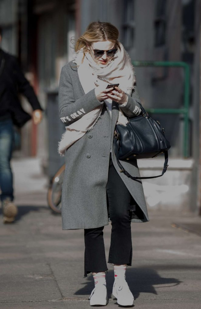 Dakota Fanning in Grey Coat out in New York City
