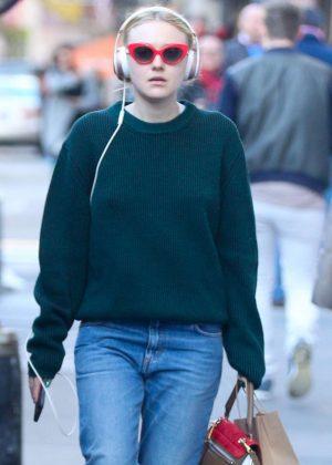 Dakota Fanning in Jeans out in Soho