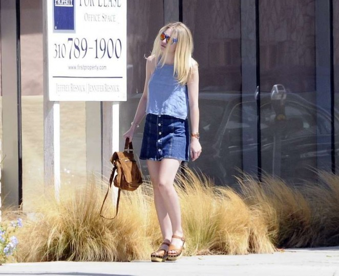 Dakota Fanning Leggy in Jeans Skirt -08