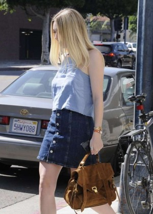 Dakota Fanning in Jeans Skirt out in Beverly Hills