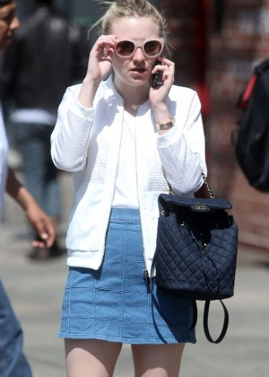 Dakota Fanning in Jeans Skirt Out in New York City