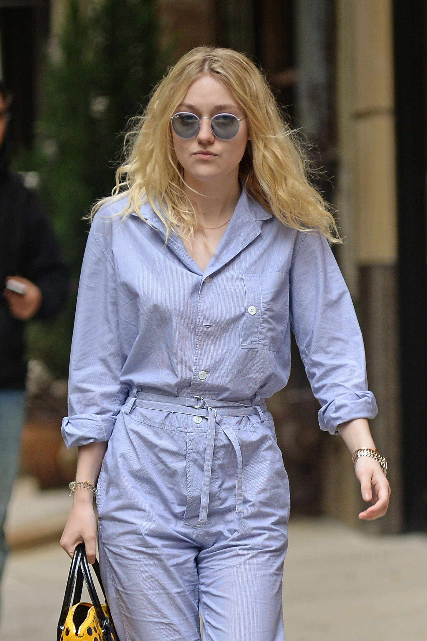Dakota Fanning in Jumpsuit Out in NYC