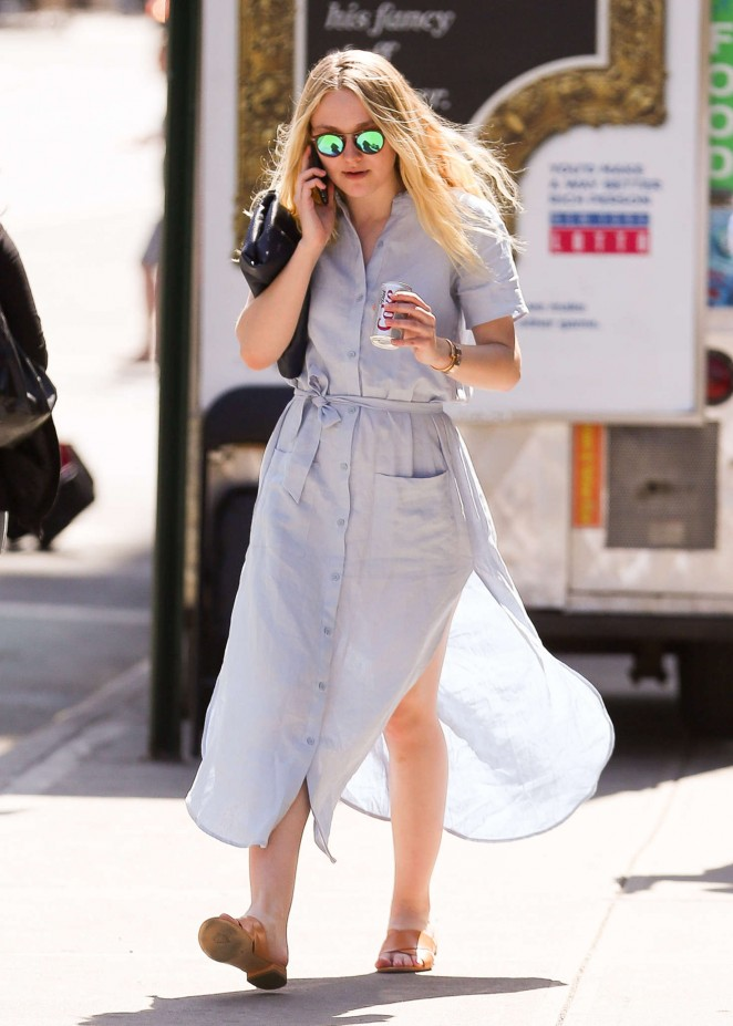 Dakota Fanning in Long Dress Out in New York