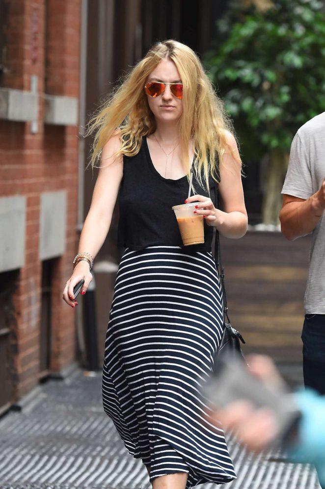 Dakota Fanning in Long Dress Out in New York